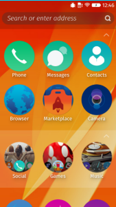 Firefox OS homescreen screenshot