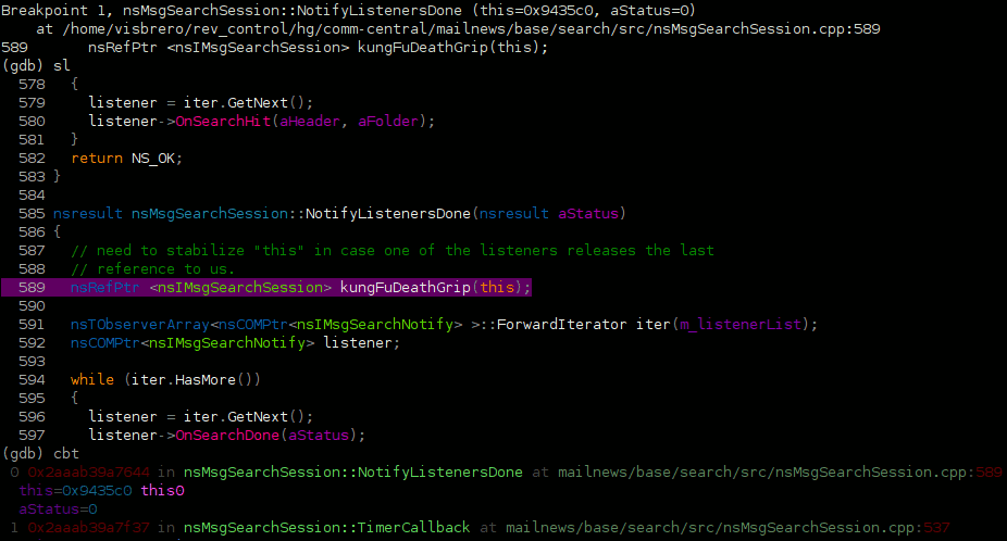 pyglist sl command output