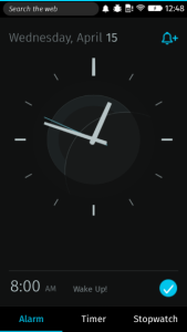 Firefox OS clock app screenshot